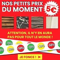 Les petits prix du moments avec des coupons de 3 mètres à 5€ dans tous nos magasins et sur www.toto.fr !  Attention, les stocks sont limités.